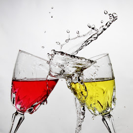 Cheers again by Peter Salmon - Artistic Objects Glass ( colour, water, wine, glasses, glass )