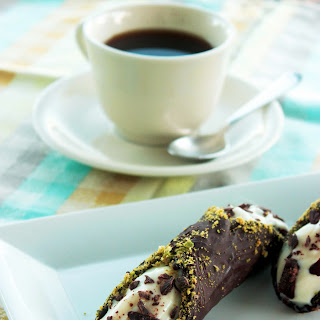 Chocolate Cannoli with Ricotta & Pistachios.