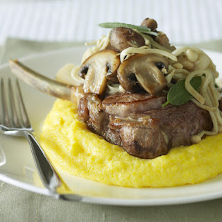 Veal Cutlets with Mushrooms and Polenta.