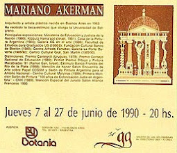 Photo: Buenos Aires, Galería de las Golondrinas, Mariano Akerman, June 1990. Exhibition Leaflet, with gallery logo designed by the artist