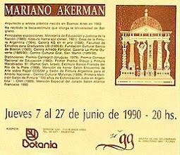 Photo: Buenos Aires, Galería de las Golondrinas, Mariano Akerman, June 1990. Exhibition Leaflet, with gallery logo designed by the artist http://akermariano.blogspot.com/2012/12/mariano-akerman.html