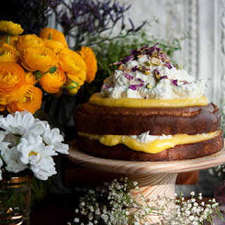 Almond Cake With Lemon Curd And Rose Cream