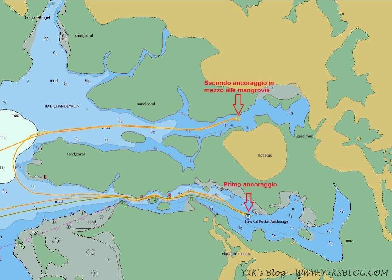 I nostri ancoraggi a Baie Ouano - Grande Terre