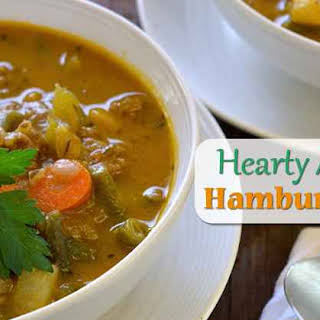 Hearty Low Carb AIP Paleo Vegetable Hamburger (ground beef) Soup.