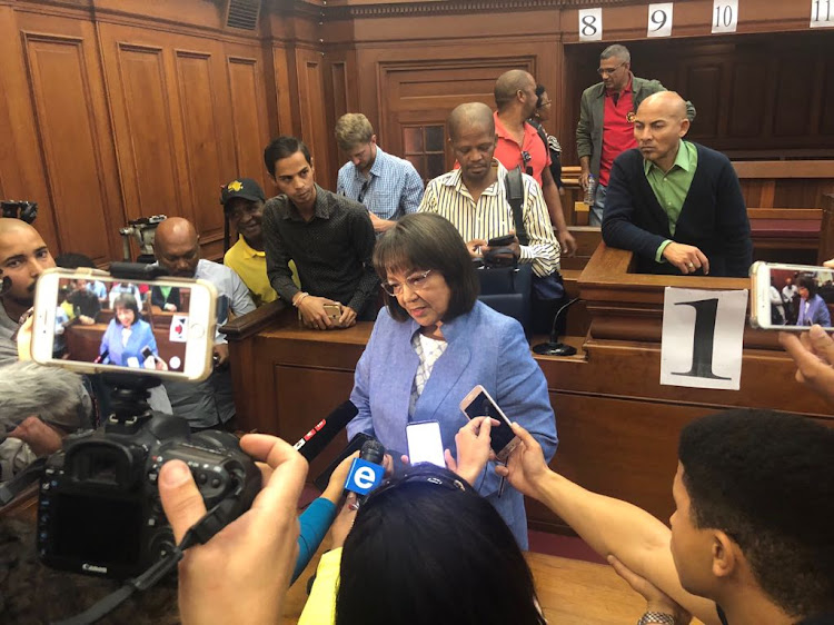 Patricia de Lille speaks to reporters in the High Court in Cape Town on Tuesday after being reinstated as mayor. Picture: ESA ALEXANDER