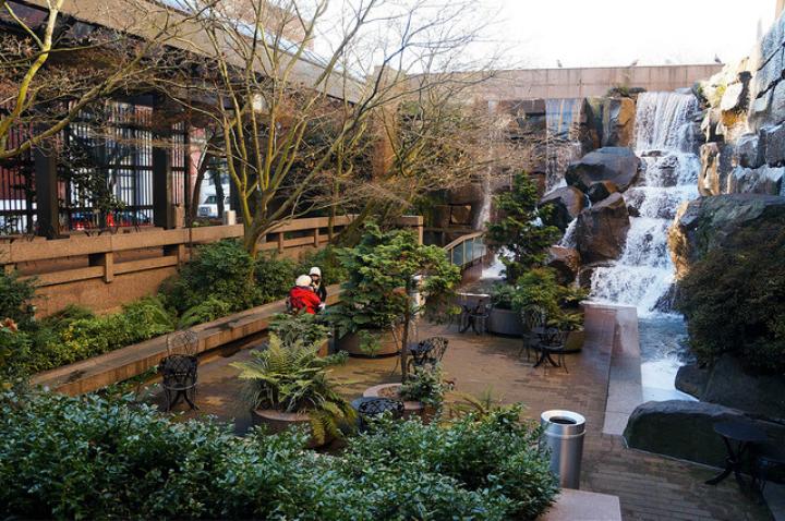 Waterfall Garden Park in Seattle