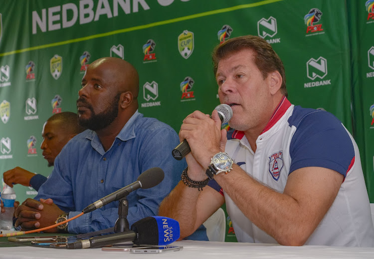 Luc Eymael, Head coach of Free State Stars and Mr Rantsi Mokoena, the club's general manager during the 2018 Nedbank Cup Training and media opportunity with Free State Stars at Free State Stars Academy, Bethlehem.