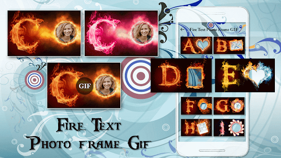 Fire Text Gif Photo Frame Editor - náhled