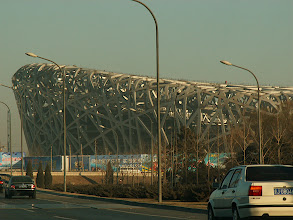 Photo: Beijing Olympic Bird's Nest stadium, in construction.  A  building unreasonably criticized by many Beijingers as 'not having Chinese characteristics'. What they presumably mean is that it's not an ugly copy of some Stalinist monstrosity from Moscow or a boring concrete tower from New York.  In fact, it is inventive, spectacular, world-class and the most unique building in China, and inspired by a Chinese person, Ai Weiwei.    See http://www.youtube.com/watch?v=MVnH8ou3Kd4