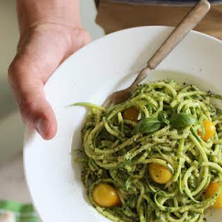 Zucchini Pasta with Vegan Cashew Basil Pesto.