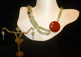 Photo: <BEREHYNYA> {Great Goddess Protectress} unique one-of-a-kind statement jewellery by Luba Bilash ART & ADORNMENT  # 74 - MERLIN'S EGG - ЯЄЧКО МЕРЛІНА - agate pendant; new jade; carnelian; silver vermeil & sterling silver findings SOLD/ПРОДАНИЙ
