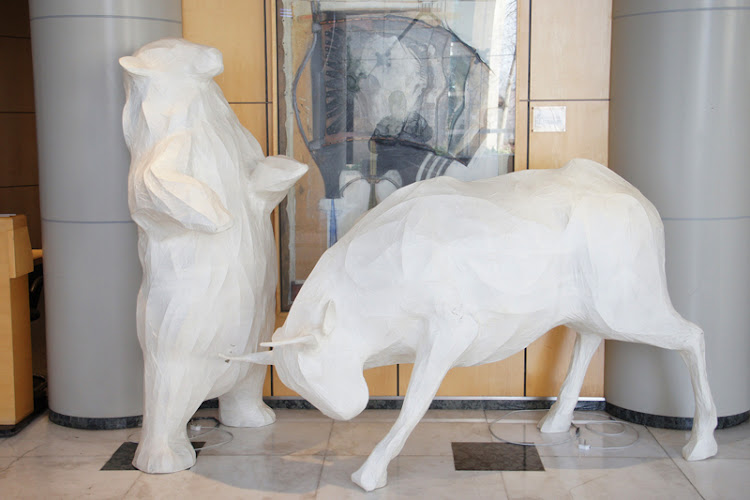 The bull and bear statues at the JSE. Picture: MICHAEL BRATT