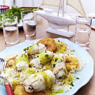 Poached Fish Roulades with Pan Fried Apples and Curry Sauce