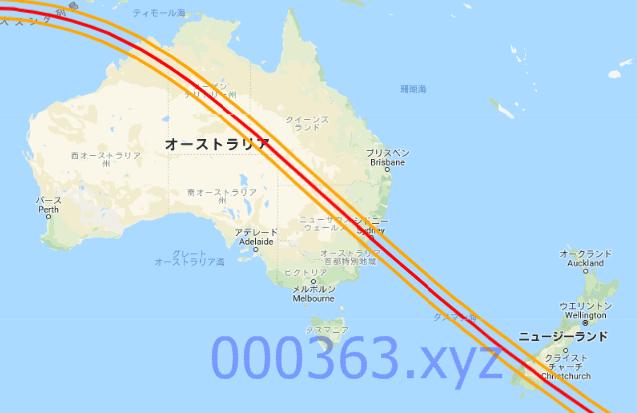 2028年07月22日の皆既日食ルート
