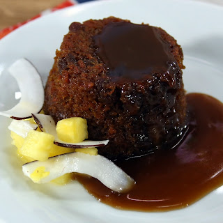 Steamed Carrot Cake With Warm Toffee Sauce.