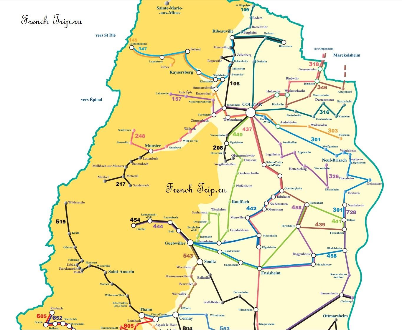 Схема маршрутов автобусов из Кольмара по Эльзасу: Кольмар: на автобусе по Эльзасу. Расписание автобусов по Эльзасу, схема маршрутов автобусов, стоимость билетов. Как сэкономить. Путеводитель по Эльзасу