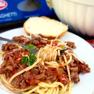 BARILLA® Spaghetti with San Marzano Tomato & Meat Sauce.