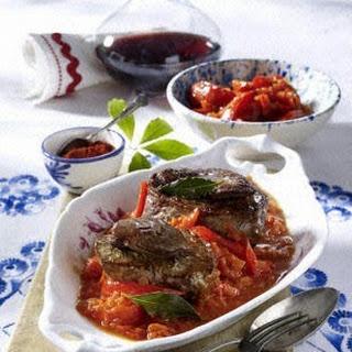 Tournedos mit Letscho (Paprika-Tomaten-Gemüse)