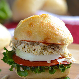 Skinny Crockpot Chicken Caesar Sandwiches