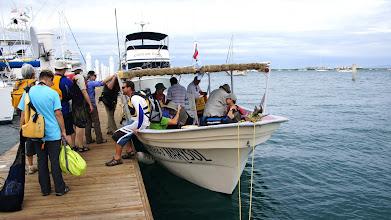 Photo: La Paz harbor - boarding tour skiff to islands