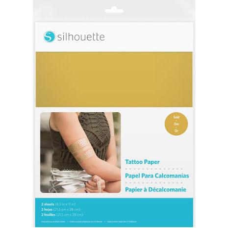 Silhouette Temporary Tattoo Paper 8.5X11 2/Pkg - Gold