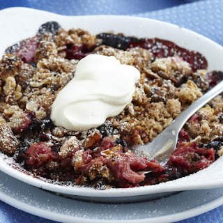Rhubarb and Blueberry Crumbles