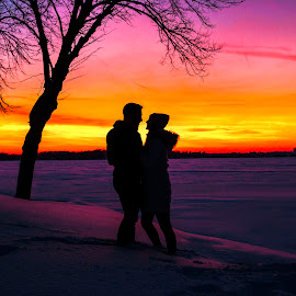 Cotton Candy Skies by Kyle Re - People Couples ( love, sky, romance, couple, nature, snow, sunset, silhouette, winter, travel, landscape,  )