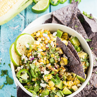 Lightened Up Mexican Corn Dip with Avocado and Jalapeño.