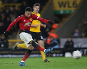 Manchester United and England forward Jesse Lingard shoots for goal during their 3-1 FA Cup quarterfinal defeat against Wolverhampton Wanderers.