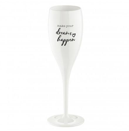 Champagneglas med print 6-pack 100ml, MAKE DREAMS HAPPEN