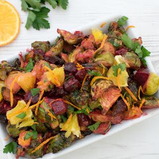 Brussels Sprouts & Beetroot Salad With Orange Horseradish Dressing [vegetarian].