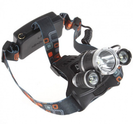 Lanterna profesionala de cap reglabila cu triplu LED si acumulator