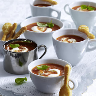 Tomato Soup with Juniper Cream and Cheese Spoons
