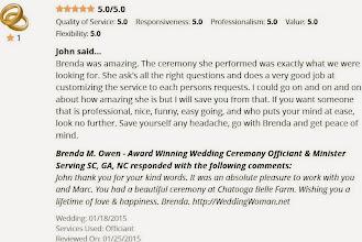 Photo: Wonderful online review from John & Marc - http://WeddingWoman.net