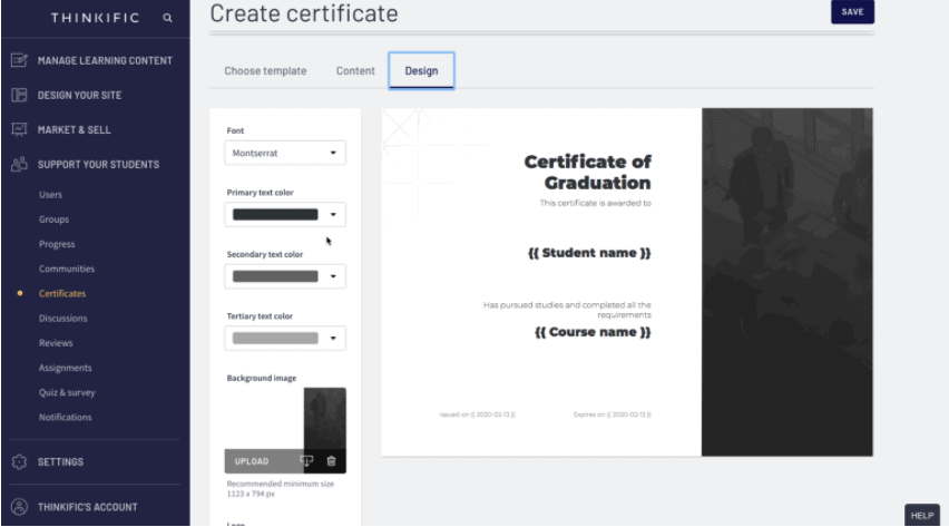 Thinkific Course Completion Certificate