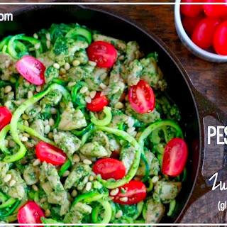 Pesto Chicken with Zucchini Noodles (gluten and grain free, paleo)