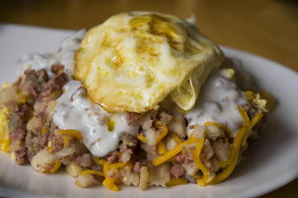 Hobo Hash Topped With Fried Egg.