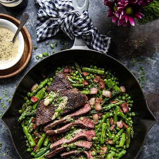 One-Skillet Coffee Rubbed Steak with Bacon & Spring Vegetables.