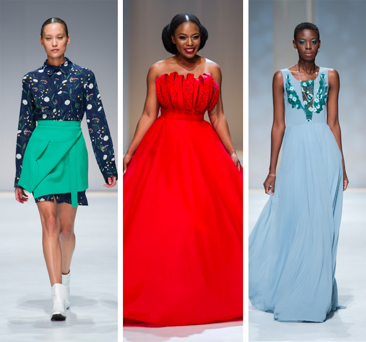 Mmuso Maxwell (left); Nomzamo Mbatha in gown by Gert-Johan Coetzee (middle); Tshepiso Ralehlathe models for Rubicon (right)