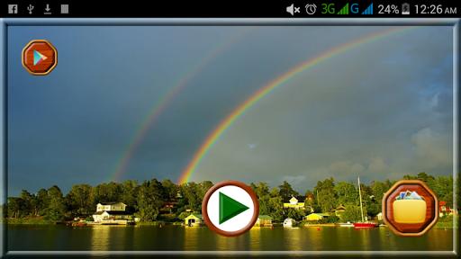 美しい虹の自分撮り写真