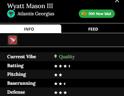 Wyatt Mason III Team: Atlantis Georgias Current Vibe: Quality Batting: 3.5 Stars Pitching: 2 Baserunning: 2.5 Defense: 3