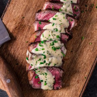 Pan Seared New York Strip Steak with Gorgonzola Cream Sauce.