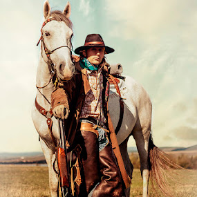 by Veronica Gafton - People Portraits of Men ( horse, white, western, man, portrait, country )