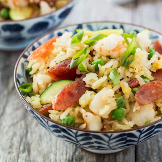 Chinese Sweet Sausage and Shrimp Fried Rice.