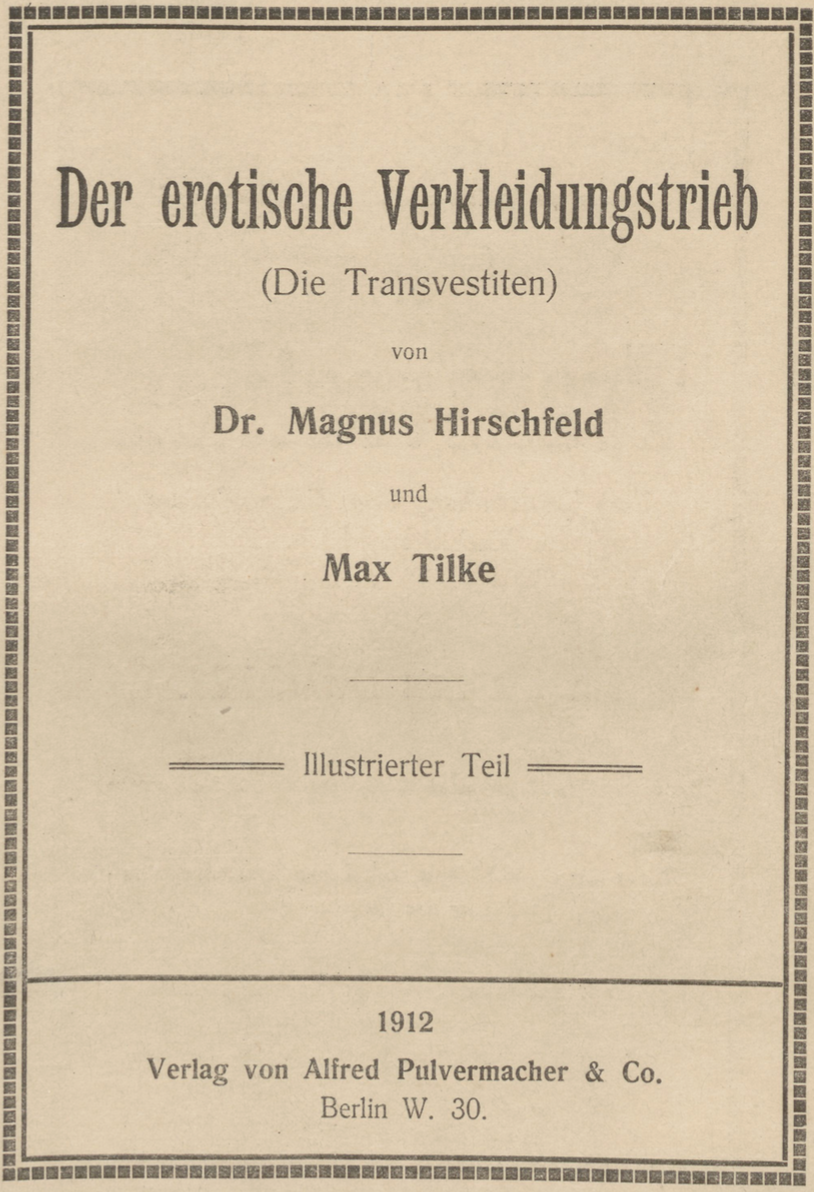 Title Page of second edition of Die Transvestiten (1912)