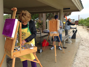 Photo: A cloudy, damp dismal day at the Boynton Inlet 1-9-14. .... But a great day and challenge for plein air painting.