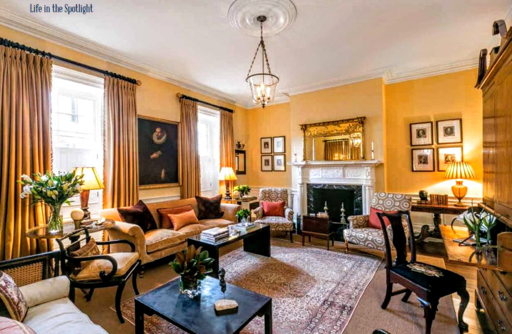 Charleston Decor. Today  From Charleston Home and Design magazine this view shows the newly finished decor with new curtains restored fireplace COTE DE TEXAS Another Charmer