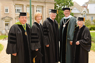Photo: (from left) Board Chair Martin K.P. Hill, Honorary Degree recipients Judy Woodruff, Al Hunt, President Roger Casey and Honorary Degree recipient Christine Royer '48.