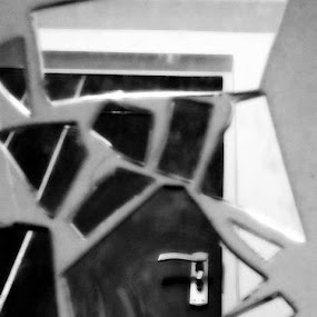 Mirror - The Broken Doorway by Sarvesh Blanc - Artistic Objects Glass ( mirror, black and white, philosophy, mind )
