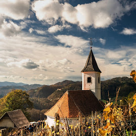 Church on the hill by Branko Balaško - Buildings & Architecture Other Exteriors ( sky, vineyard, church, hills, clouds,  )